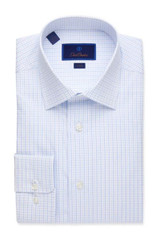 David Donahue Textured Open Check Trim Dress Shirt