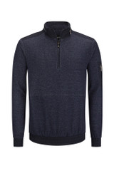 Bugatchi Navy 1/4 Zip with Convertible Hood