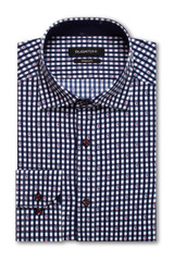 Bugatchi Navy Grid Performance Shaped Shirt