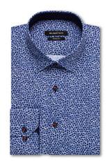 Bugatchi Night Blue Print Performance Shaped Shirt