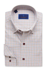 David Donahue Navy & Merlot Tattersal Shirt
