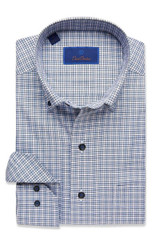 David Donahue Blue Check Shirt