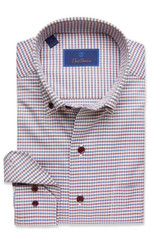 David Donahue Merlot Check Shirt