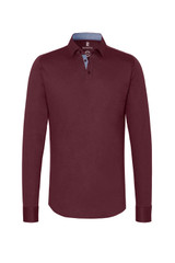 Desoto Maroon Solid Long Sleeve Polo