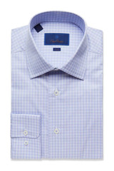 David Donahue Blue Glen Plaid Trim Dress Shirt