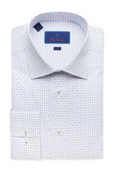 David Donahue Blue Dot Check Trim Dress Shirt