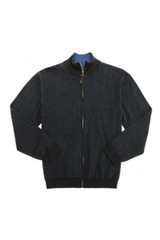 Leo Chevalier Tall Double Faced Solid Full Zip Sweater