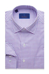 David Donahue Berry Textured Classic Gingham Shirt