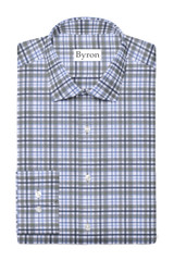 Byron Big & Tall Heather Grey & Blue Plaid Performance Shirt