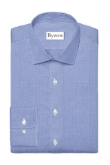 Byron Wrinkle-Resistant Indigo Mini Gingham Dress Shirt