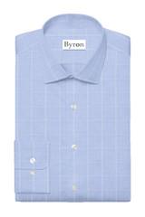 Byron Wrinkle-Resistant Sky Blue Glen Plaid Dress Shirt