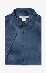 Mizzen + Main Navy Diamond Print Short Sleeve Shirt