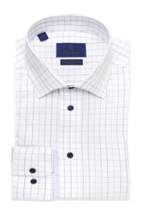 David Donahue White & Blue Check Non Iron Trim Dress Shirt