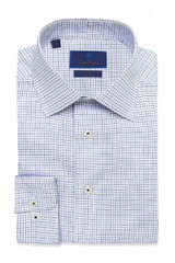 David Donahue Navy Ground Check Non Iron Trim Dress Shirt