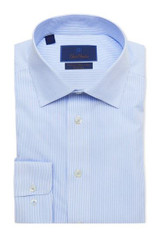 David Donahue Blue Stripe Non Iron Trim Dress Shirt