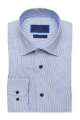 David Donahue Blue Tonal Dobby Performance Trim Dress Shirt