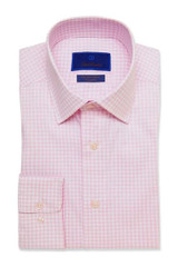 David Donahue Pink Gingham Performance Trim Dress Shirt