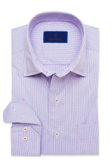 David Donahue Berry Micro Check Performance Shirt