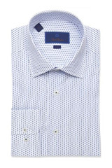 David Donahue White & Navy Medallion Print Trim Dress Shirt