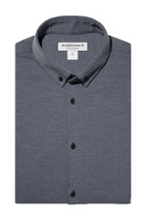 Mizzen + Main Grey Heather Knit Pique Shirt