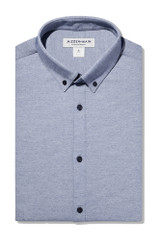 Mizzen + Main Light Blue Chambray Knit Pique Shirt