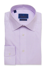David Donahue Lilac Check Non Iron Dress Shirt