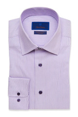 David Donahue Lilac Tonal Dobby Performance Dress Shirt
