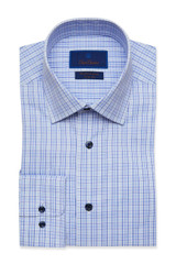 David Donahue Blue & Navy Plaid Performance Dress Shirt