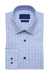 David Donahue Blue & Navy Plaid Performance Dress Shirt