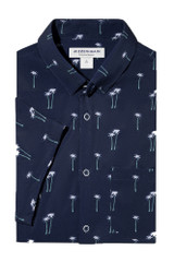 Mizzen+Main Navy Palm Tree Print Short Sleeve Shirt