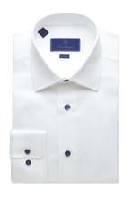 David Donahue Micro Textured Blue Button Trim Dress Shirt