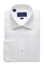 David Donahue Micro Birdseye French Cuff Trim Dress Shirt