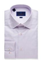 David Donahue Fine Line Twill Plaid Trim Dress Shirt