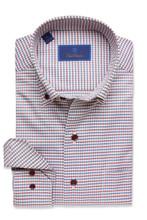 David Donahue Merlot Check Shirt
