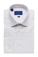 David Donahue Merlot Check Trim Dress Shirt