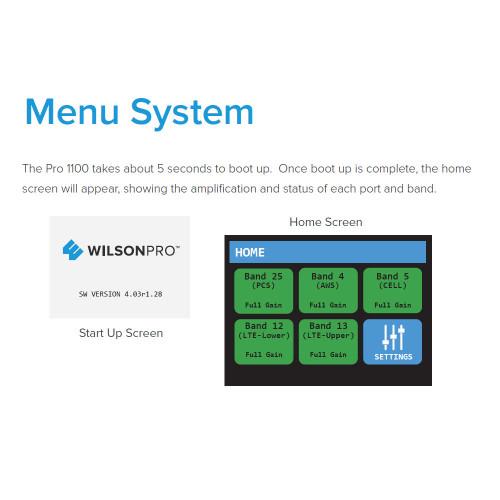Pro 1100 Menu System