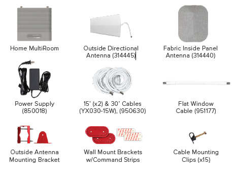 picture of weboost multiroom kit contents
