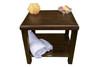 "DecoTeak Eleganto 18"" Teak Wood Shower Bench with Shelf in Woodland Brown Finish"