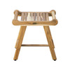 """EcoDecors Harmony 20"""" Teak Wood Fully Assembled Shower Bench with LiftAide Arms in EarthyTeak Finish"""