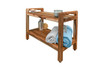 """EcoDecors Eleganto 29"""" Teak Wood Shower Bench with LiftAide Arms and Shelf in EarthyTeak Finish"""