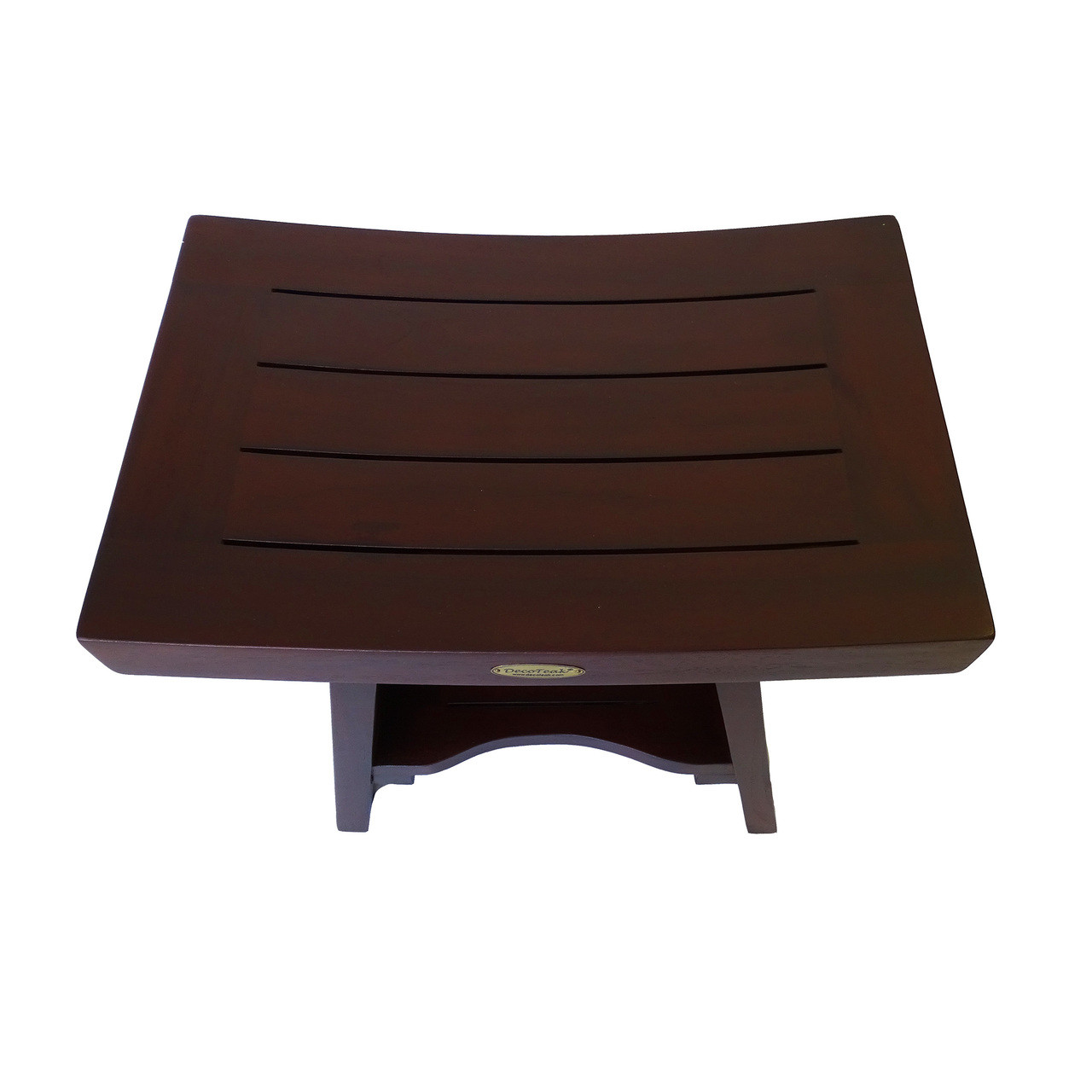 "DecoTeak Serenity 18"" Teak Wood Fully Assembled Shower Bench with Shelf in Woodland Brown Finish"