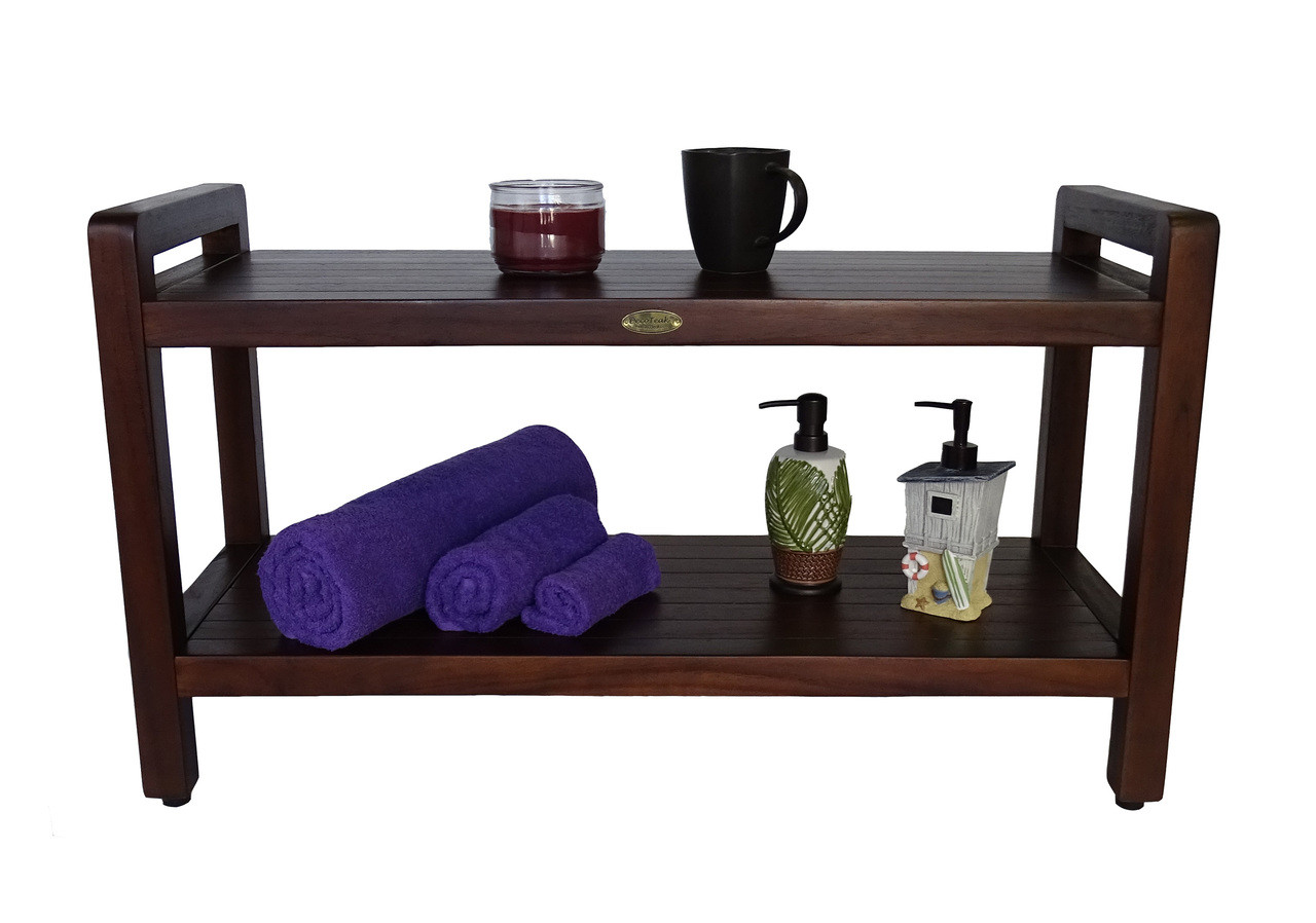"""DecoTeak Eleganto 35"""" Teak Wood Shower Bench with LiftAide Arms and Shelf in Woodland Brown Finish"""