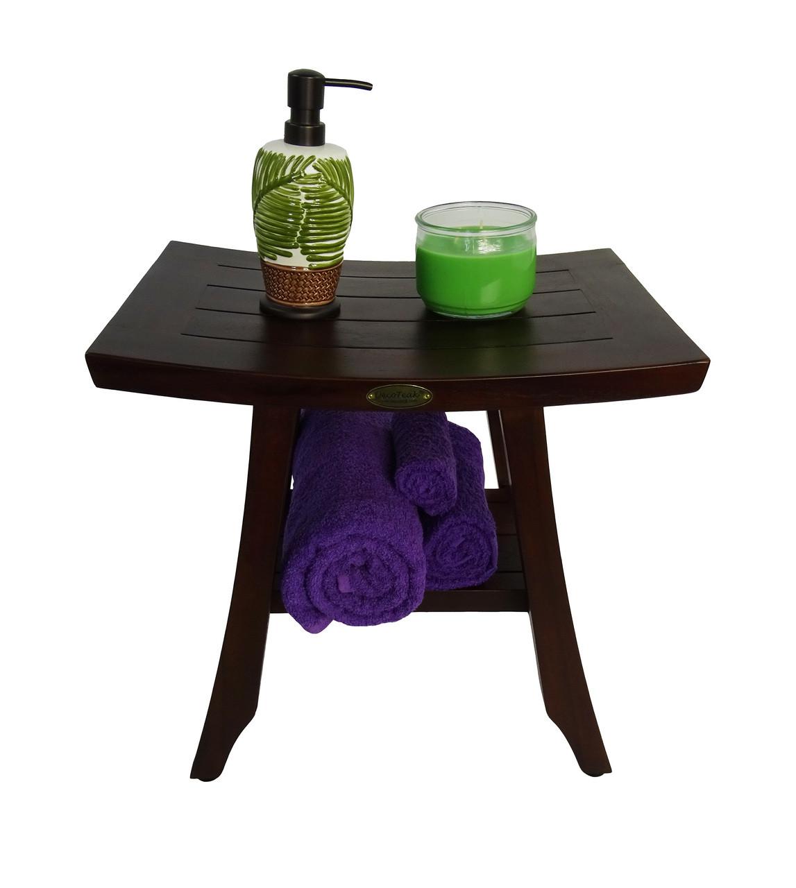 "DecoTeak Satori 18"" Teak Wood Fully Assembled Shower Bench with Shelf in Woodland Brown Finish"