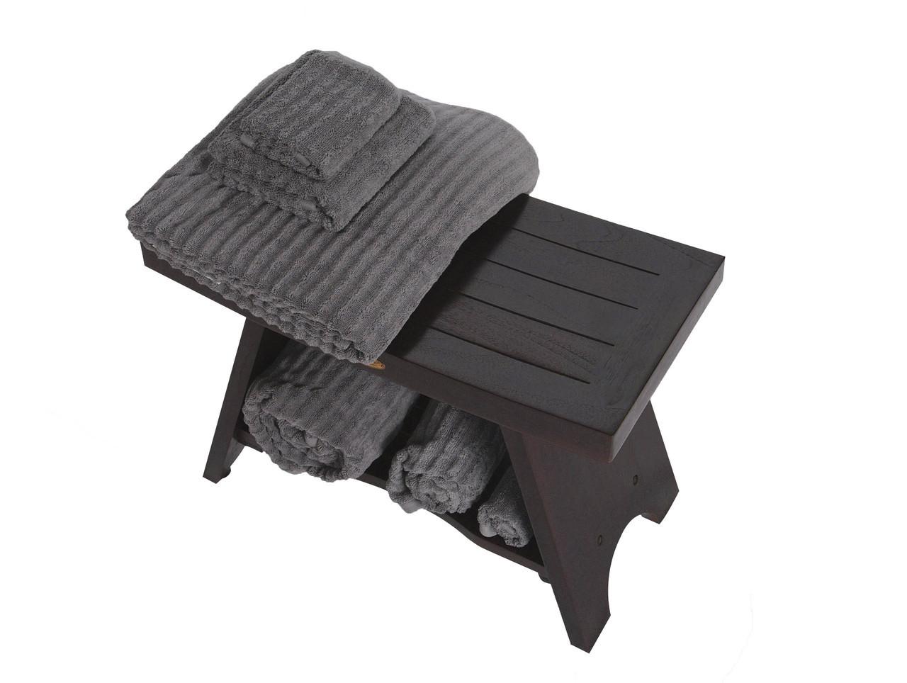 "DecoTeak Serenity 24"" Teak Wood Shower Bench with Shelf in Woodland Brown Finish"