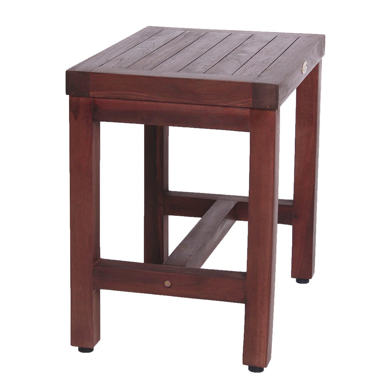 "DecoTeak Eleganto 18"" Teak Wood Shower Bench in Woodland Brown Finish"