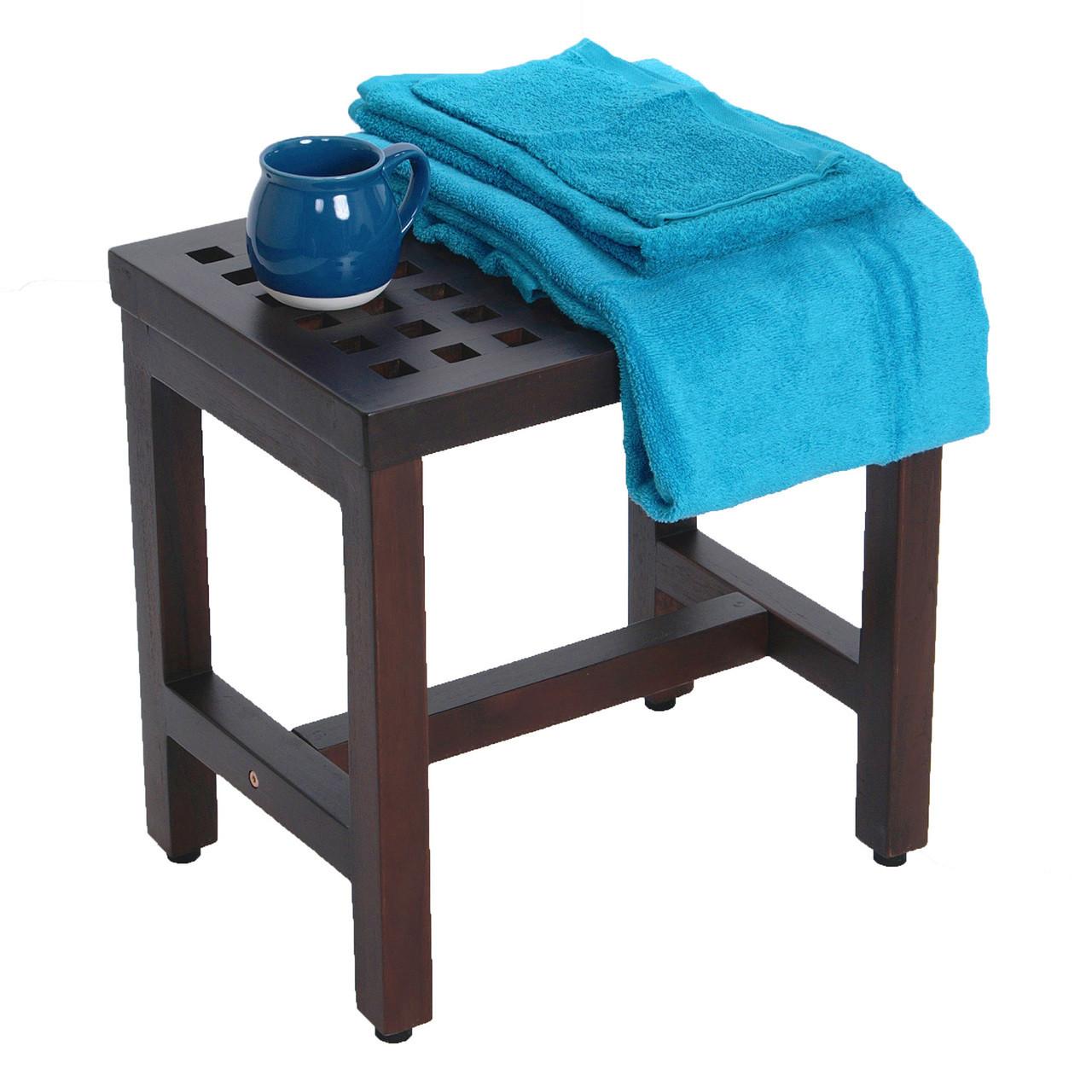 """DecoTeak Espalier 18"""" Teak Wood Shower Bench in Woodland Brown Finish"""