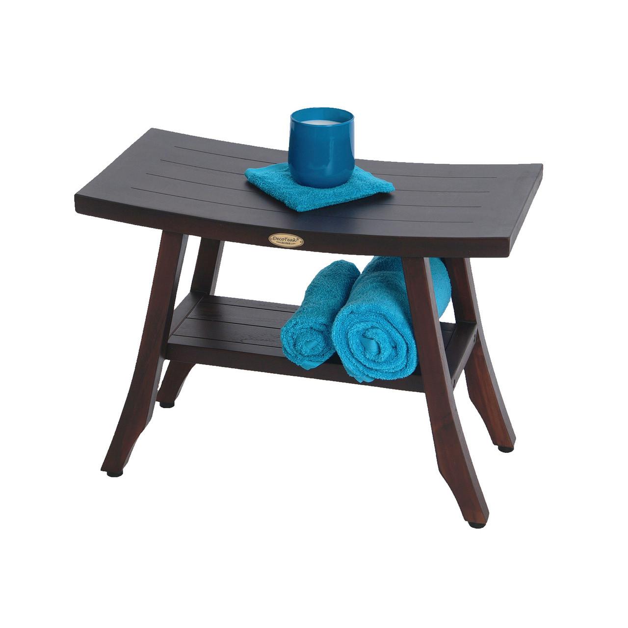 "DecoTeak Satori 24"" Teak Wood Shower Bench with Shelf in Woodland Brown Finish"