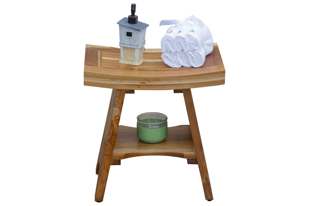 "EcoDecors Serenity 18"" Teak Wood Fully Assembled Shower Bench with Shelf in EarthyTeak Finish"
