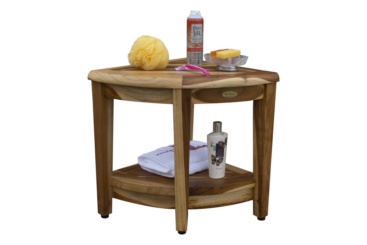 "EcoDecors SnazzyCorner 18"" Teak Wood Fully Assembled Wide Corner Shower Bench with Shelf in EarthyTeak Finish"