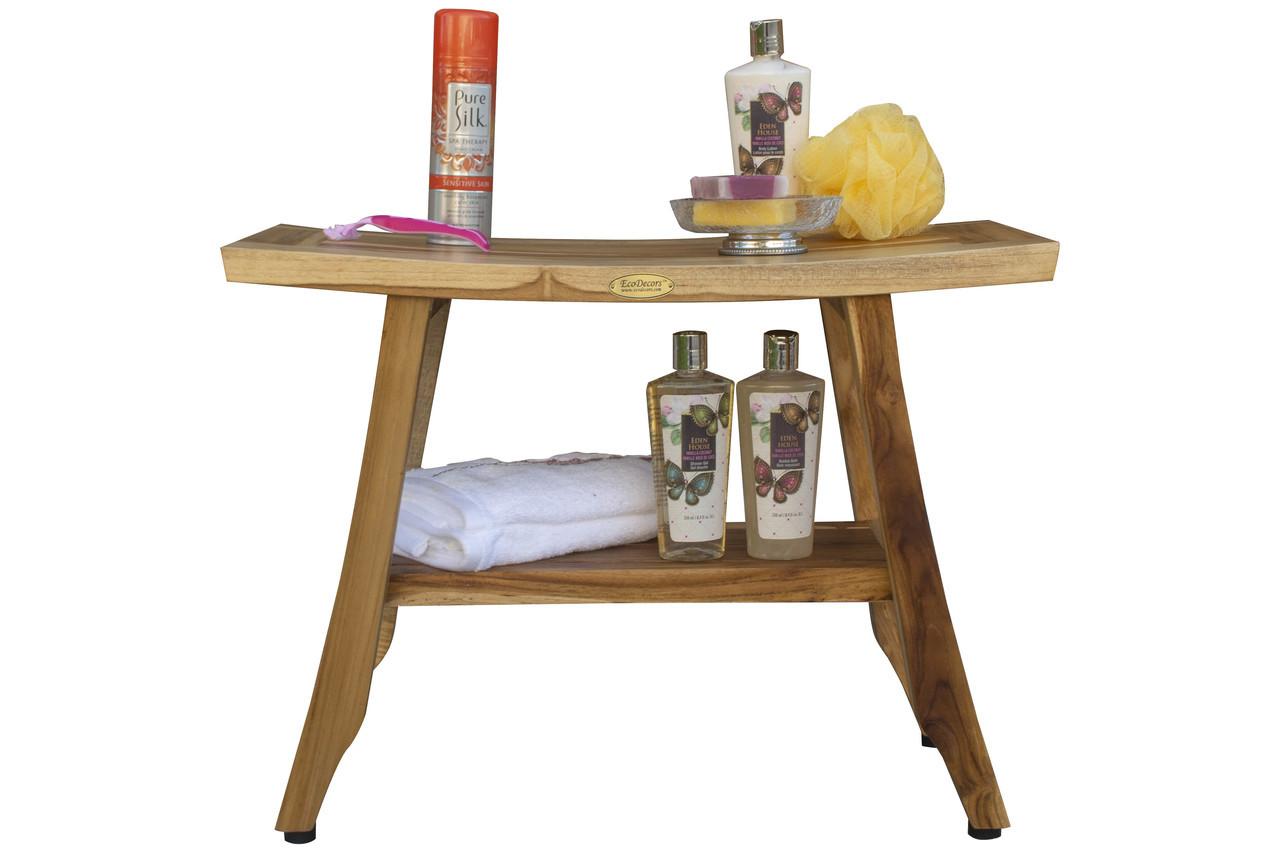 "EcoDecors Satori 24"" Teak Wood Shower Bench with Shelf in EarthyTeak Finish"